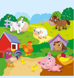 Cartoon Cute Farm Animals vector image