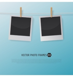 Retro Photo Frames on a Rope with clothespins for vector image vector image