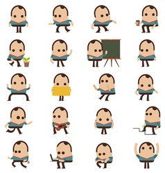 Set of businessman characters poses and animation vector image vector image