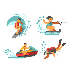 summer water healthy activities poster on vector image vector image