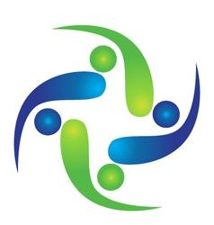 Teamwork swooshes logo vector image