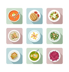 Vegetarian cuisine Flat icons in color vector image