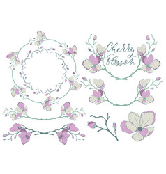 cherry blossom design dividers frames and vector image