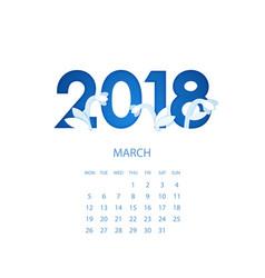 design template floral calendar 2018 vector image vector image