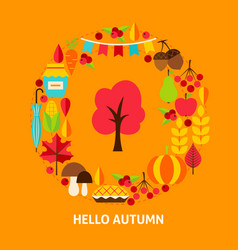 hello autumn greeting card vector image