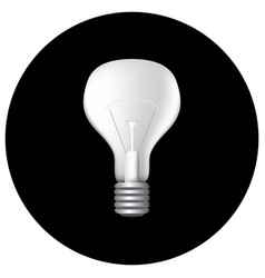 realistic light bulb on black vector image