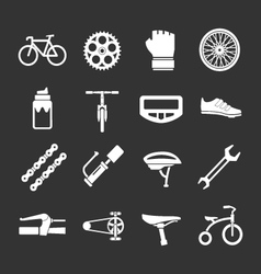 Set icons of bicycle biking and bike parts vector image