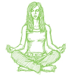 Woman meditation lotus pose vector