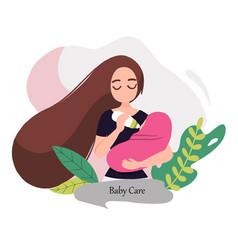 08 woman feeding a baby vector image