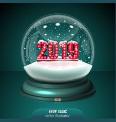 2019 snow globe on green background merry vector
