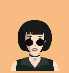 a girl with glasses and choker with sun badge vector image