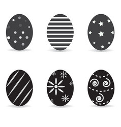 a set of black-and-white easter eggs easter eggs vector image