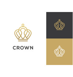 Abstract geometric linear crown icon vector