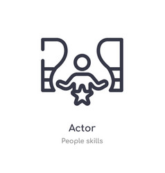 Actor outline icon isolated line from people vector