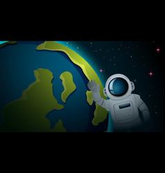 Astronaut and earth scene vector