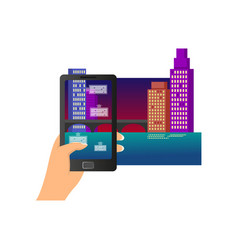 augmented reality modern smartphone city night vector image