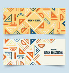 Back to school geometric rulers banners vector