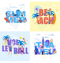 banner with huge letters set in summer time theme vector image