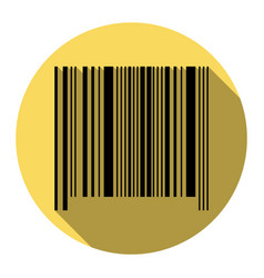 bar code sign flat black icon with flat vector image