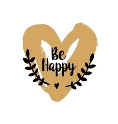 Be Happy Valentine on golden heart vector