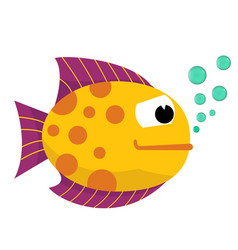 beautiful tropical fish with blowing bubbles vector image