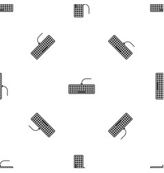 black computer keyboard pattern seamless black vector image