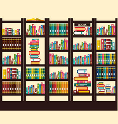 books in library flat design vector image