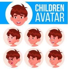 boy avatar set kid kindergarten face vector image