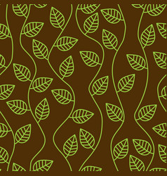 Brown seamless pattern with leaves and curves vector