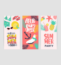 bundle of creative flyer templates for summer vector image