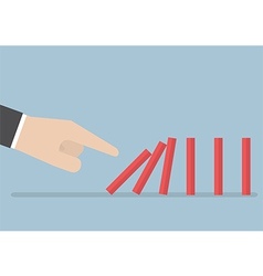 Businessman hand pushing domino effect vector