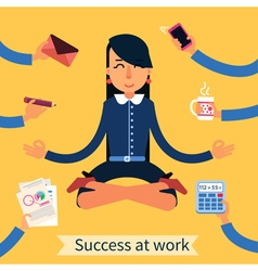 Businesswoman in Yoga Pose Searching the Balance vector image