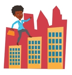 Businesswoman walking on roofs of the buildings vector
