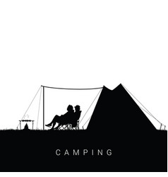 camping in nature with people silhouette vector image