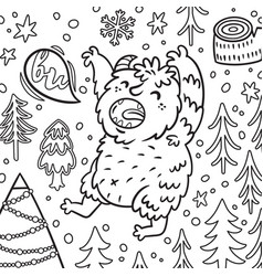 Cartoon bigfoot or yeti growls in forest vector