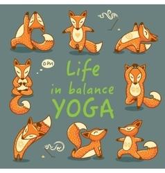 Cartoon foxes doing yoga poses card vector
