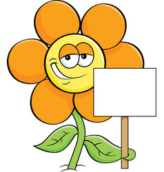 cartoon smiling flower holding a sign vector image