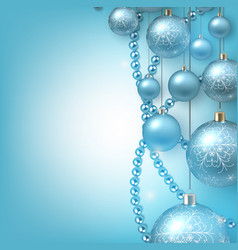 christmas background with blue christmas balls and vector image
