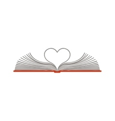color silhouette with open book with sheets in vector image