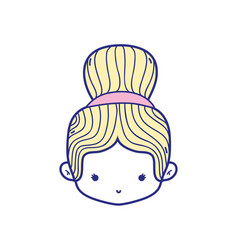 Colorful girl head with bun hair design vector