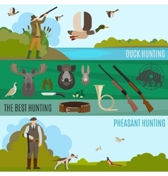 Colorful hunting banners vector image