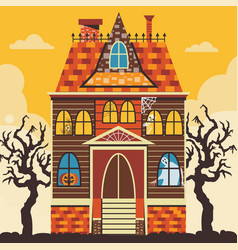 Creepy halloween haunted house scene card template vector