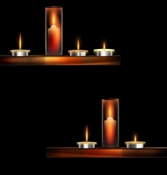 Darkness and burning candles vector