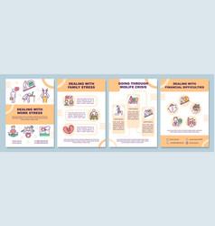 Dealing with work stress brochure template vector