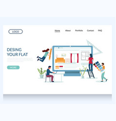 design your flat website landing page vector image