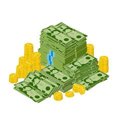 dollar bills pile stacked money green vector image