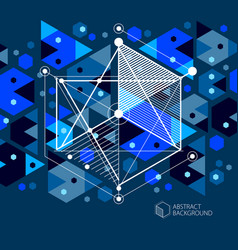 engineering technological dark blue 3d wallpaper vector image