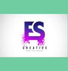 es e s purple letter logo design with liquid vector image