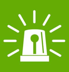 Flashing emergency light icon green vector