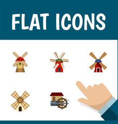 Flat icon energy set of wind energy turbine vector